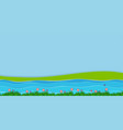 background scene with field and river vector image vector image