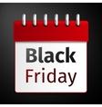 Black friday sale calendar on black background vector image vector image