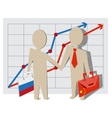 Businessmen of Russia and China shake hands vector image