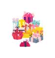 cartoon present gift box ribbon bow heap vector image vector image