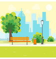 cartoon urban park with bench vector image