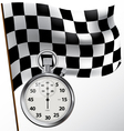 Checkered flag and stopwatch vector image vector image