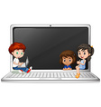 Children and laptop computer vector image