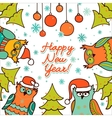 christmas background with owls vector image vector image