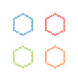 colorful stitched hexagon shape vector image