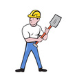 construction worker with shovel spade vector image vector image