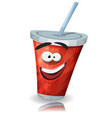 cup of soda character with straw vector image