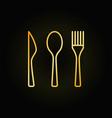 cutlery golden linear icon vector image