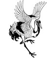 dancing japanese crane black and white vector image vector image