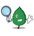 detective mint leaves character cartoon vector image vector image