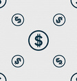 Dollar icon sign Seamless pattern with geometric vector image