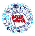 doodle christmas sweater mittens sock vector image vector image