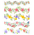 fashion floral set of seamless borders with roses vector image vector image