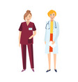 female doctor and nurse in white coat and nurse vector image