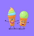 fruits and pistachio ice cream funny characters vector image vector image