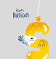 funny happy birthday gift card number 5 balloon vector image
