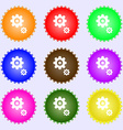 gears icon sign A set of nine different colored vector image vector image