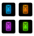 glowing neon mobile phone and face recognition vector image