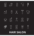 hair salon editable line icons set on black vector image