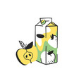 hand drawn summer set of apple and juice pack vector image