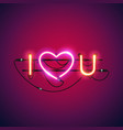 i love you with pink heart neon sign vector image vector image