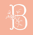letter b with floral decoration handmade letter vector image vector image