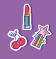 lipstick with cherry and star fashion patches vector image