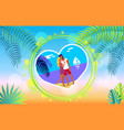 lovely hugging couple on summer beach romance vector image vector image