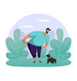 man playing with dog flat guy strolling with pet vector image