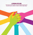 Many Colorful Teamwork People Hands Background vector image vector image