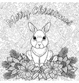 merry christmas coloring page with rabbit vector image