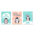 merry christmas greetings cards with penguins set vector image vector image