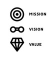 mission vision values web page template vector image vector image