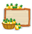 pineapple on wooden board vector image
