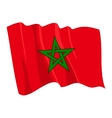 political waving flag of morocco vector image vector image
