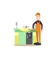 professional plumber in flat vector image vector image