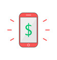 red outline phone with dollar mark vector image vector image