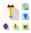 robot and factory logo set vector image vector image