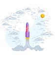 rocket launch into cloudy beautiful sky explore vector image