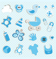 scrapbook set of baby boy things vector image vector image