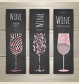 Set of art wine glass banners and labels design vector image