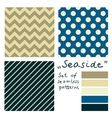 set simple seamless geometric patterns seaside vector image vector image