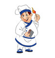smiling chef holding a lit matchstick vector image