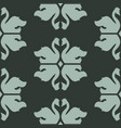swan shapes with rhombs on dark green vector image vector image