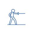 swordsman line icon concept swordsman flat vector image vector image