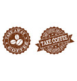 take coffee away stamp seals with grunge texture vector image vector image