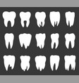 tooth icon set teeth silhouettes vector image