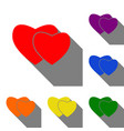 two hearts sign set of red orange yellow green vector image vector image