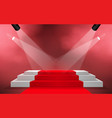 white podium and red carpet with spotlight vector image vector image