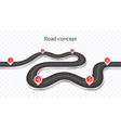 winding 3d road concept on a transparent vector image vector image